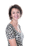 Het mooie donkerbruine rijpe vrouw glimlachen Royalty-vrije Stock Foto