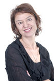 Het mooie donkerbruine rijpe vrouw glimlachen Royalty-vrije Stock Foto's