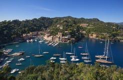 Het mooie dorp van Portofino, dorp dichtbij Genua, Italië stock foto