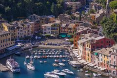 Het mooie dorp van Portofino, dorp dichtbij Genua, Italië royalty-vrije stock fotografie