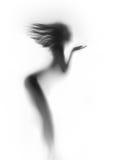 Het mooie en sexy silhouet van het vrouwen zijaanzicht, blazend haar Royalty-vrije Stock Foto's