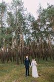 Het mooie enkel echtpaar stellen in groen naaldboomhout Het openluchtportret van gemiddelde lengte Stock Fotografie