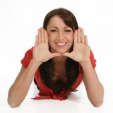 Het mooie Frame Gezicht van de Vrouw met Handen Stock Afbeeldingen