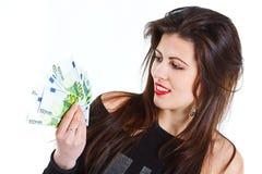 Het mooie geld van de vrouwenholding Stock Fotografie