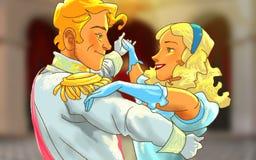 Het mooie gelukkige paar danst Stock Afbeeldingen