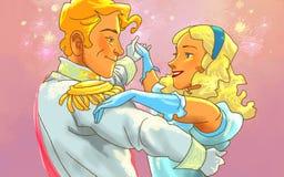 Het mooie gelukkige paar danst Stock Foto
