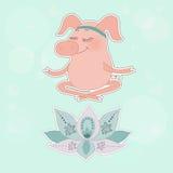 Het mooie gelukkige varken zit blind in een lotusbloem stelt Royalty-vrije Stock Afbeeldingen