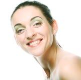 Het mooie gezicht van de gezondheidsvrouw met schone zuiverheidshuid stock afbeelding
