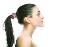 Het mooie gezicht van de gezondheidsvrouw met schone zuiverheidshuid stock afbeeldingen