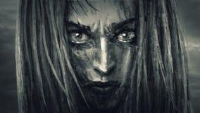 Het mooie gezicht van het strijdersmeisje met een kwaad blik stock illustratie