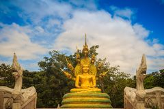 Het mooie gouden standbeeld van Boedha met zeven onder hoofden van Phaya Naga Royalty-vrije Stock Afbeeldingen