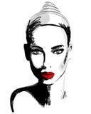 Het mooie hand getrokken portret van de stijl elegante vrouw vector illustratie