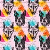 Het mooie hand getrokken vector naadloze patroon schetsen van hond vector illustratie