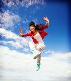 Het mooie het dansen meisje springen Stock Foto's