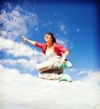 Het mooie het dansen meisje springen Stock Foto