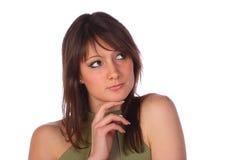 Het mooie het glimlachen vrouw denken, geïsoleerdc op wit Royalty-vrije Stock Foto's