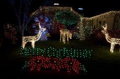 Het mooie huis van de Kerstmisverlichting stock afbeelding