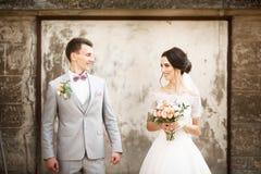Het mooie huwelijkspaar stellen dichtbij de oude muur royalty-vrije stock afbeeldingen