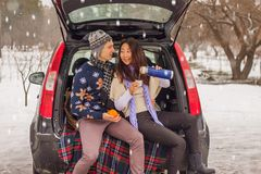 Het mooie internationale paar ontspannen in aard in de winter Romantische vergadering van een paar in liefde in de sneeuw Het jon royalty-vrije stock foto