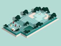 Het mooie isometrische ontwerp van golfspelers speelt in golfcursus, grafisch ontwerp van golfcursus royalty-vrije illustratie