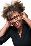 Het mooie Jonge Afrikaanse Lachen van de Vrouw Royalty-vrije Stock Foto's