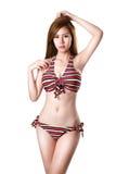 Het mooie jonge Aziatische de vrouw van de zwempakmanier stellen Royalty-vrije Stock Fotografie