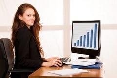 Het mooie jonge bedrijfsvrouwenwerk bij haar bureau in bureauwi Royalty-vrije Stock Foto