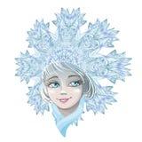 Het mooie jonge die meisje van de meisjessneeuw op witte achtergrond wordt geïsoleerd Karakter van Russische folklore Schets van  royalty-vrije illustratie
