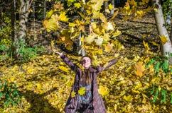 Het mooie jonge meisje een gelukkige vrouw die en een gele esdoorn glimlachen houden verlaat het lopen in de herfstpark Stock Afbeelding