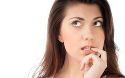 Het mooie jonge vrouw denken Stock Afbeeldingen