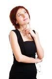 Het mooie jonge vrouw denken Stock Foto
