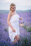 Het mooie jonge vrouw stellen op een lavendelgebied Royalty-vrije Stock Afbeelding