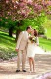 Het mooie jonggehuwdepaar kussen in park Stock Foto's