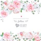 Het mooie kader van het huwelijks vectorontwerp met bloemen vector illustratie