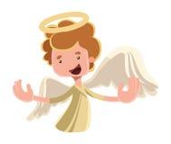 Het mooie karakter van het de illustratiebeeldverhaal van engelen uitspreidende vleugels Stock Afbeelding