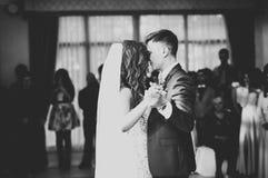 Het mooie Kaukasische huwelijkspaar huwde enkel en dansend hun eerste dans stock afbeelding