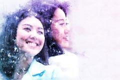 Het mooie kleurrijke gezicht van de het meisjesglimlach van Azië op waterverfverf stock afbeeldingen