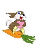 Het mooie konijn zit op wortel Royalty-vrije Stock Afbeelding