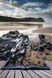 Het mooie landschap van de de Zomerzonsopgang over gele zandige strandconce Stock Foto's