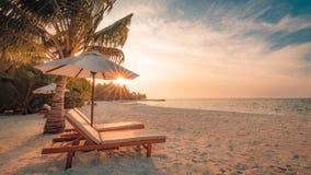 Het mooie landschap van het het eilandstrand van de Maldiven Stoelen en paraplu voor de zomervakantie en vakantieachtergrond Exot Stock Fotografie