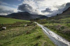 Het mooie landschap van het Meerdistrict van heuvels en valleien op stormachtig Royalty-vrije Stock Foto's