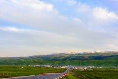 Het mooie landschap van Qinghai-meer bij zonsondergang, Heimahe-gemeente, Qinghai-provincie, China Stock Afbeelding