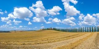 Het mooie landschap van Toscanië met traditioneel landbouwbedrijfhuis en borrel Stock Foto's