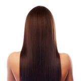 Het mooie lange haar isplated op wit stock fotografie