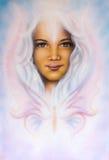 het mooie luchtpenseel schilderen van een jong meisjes engelachtig gezicht met r vector illustratie