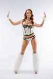 Het mooie meisje in een dansend kostuum royalty-vrije stock afbeeldingen