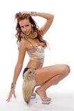 Het mooie meisje in een dansend kostuum stock foto's