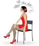 Het mooie meisje in een korte rode kleding royalty-vrije illustratie