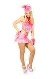 Het mooie meisje in een kostuum. stock afbeeldingen