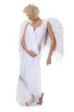 Het mooie meisje in een kostuum van een witte engel Stock Afbeelding